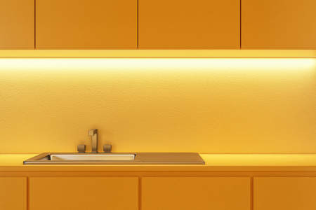Close up of sink in yellow kitchen. 3D Rendering
