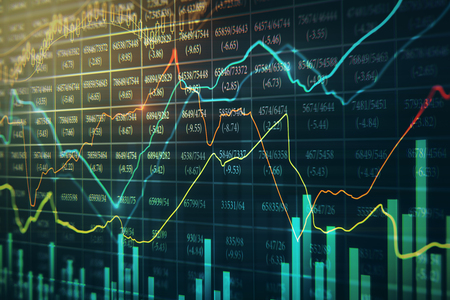 Creative glowing forex chart background with candlestick. 3D Rendering