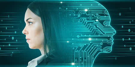 Side portrait of attractive young european businesswoman with digital head outline, circuit and binary code. Artificial intelligence and hardware concept. Double exposure
