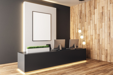 Modern wooden office lobby interior with empty banner and equiment on reception desk. Mock up, 3D Rendering