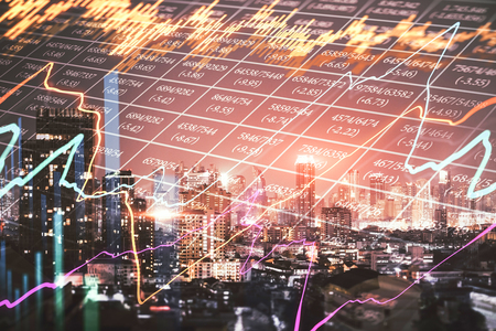 Creative glowing forex chart on night city texture with candlestick line. Finance. trade and invest concept. Double exposure Banque d'images - 120870893
