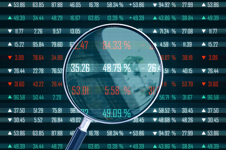 Magnifying glass with forex chart. Forecast and index concept. 3D Rendering