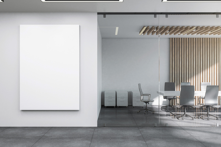 Modern meeting room interior with empty banner on wall and furniture. Mock up, 3D Rendering Stockfoto