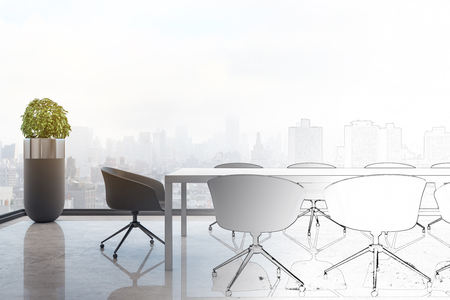 Hand drawn conference room interior with panoramic city view. Design and architecture concept. 3D Rendering Reklamní fotografie