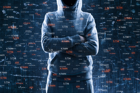 Hacker with folded amrs standing on abstract binary code background. Hacking and trade concept. Double exposure Zdjęcie Seryjne