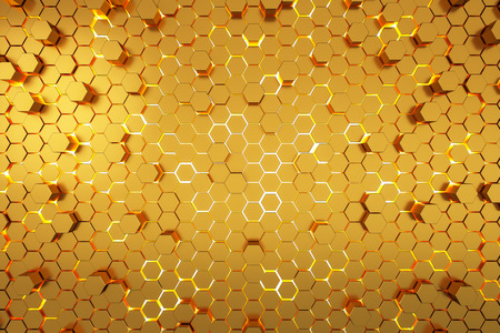 Creative yellow hexagon background. Design and mosaic concept. 3D Rendering