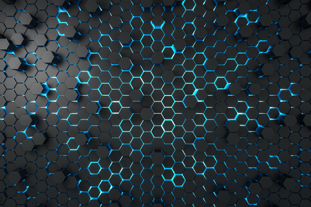 Creative dark hexagon backdrop. Design and mosaic concept. 3D Rendering