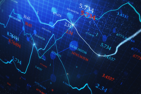 Creative glowing forex chart background with candlestick and index grid. Trading and finance concept. 3D Rendering Banque d'images - 120869730