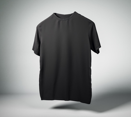 Clean black t-shirt on light background with shadow. Design and print concept. Mock up, 3D Rendering Stock Photo