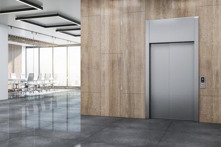 Vestíbulo de oficinas moderno con ascensor, paredes de madera y vista panorámica de la ciudad. Representación 3D Foto de archivo