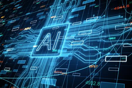 Kreativer AI-Hintergrund mit Forex-Chart. Künstliche Intelligenz und Investitionskonzept. 3D-Rendering Standard-Bild
