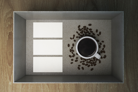 Coffee cup and coffee beans in paper box, 3D Rendering