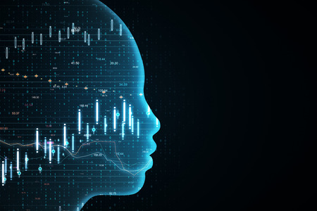 Side view of glowing head outline with forex chart on black background. AI and invest concept. 3D Rendering