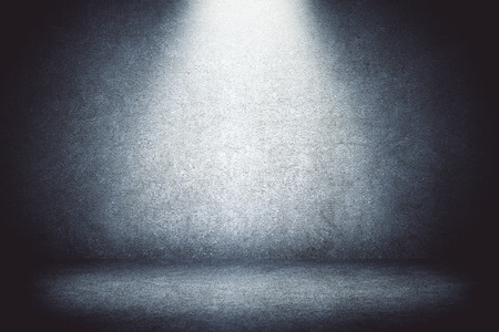 Empty concrete wall backdrop with spotlight. Mock up, 3D Rendering