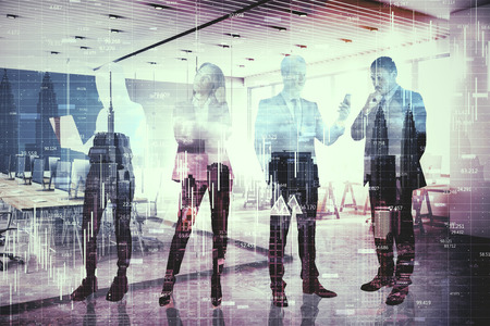 Crowd of businesspeople silhouettes standing on blurry office city background with forex chart. Teamwork and trade concept. Double exposure