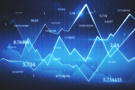 Abstract forex chart backdrop with numbers and grid. Trade and finance concept. 3D Rendering Banco de Imagens