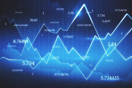 Abstrakter Forex-Chart-Hintergrund mit Zahlen und Raster. Handels- und Finanzkonzept. 3D-Rendering Standard-Bild