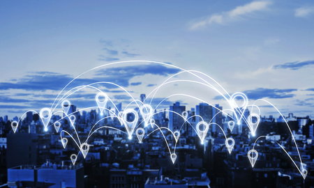 Glowing night city with map location pins. Social network and community concept. Double exposure