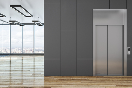 Modern concrete interior with elevator and blank copyspace. Mock up, 3D Rendering Archivio Fotografico - 120798266