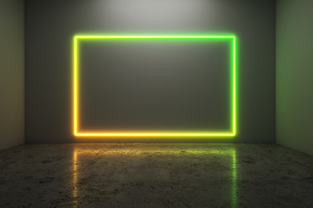 Glowing neon frame on concrete wall background with reflections.  Style and design concept. Mock up, 3D Rendering Stock Photo