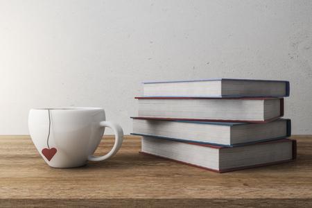 Stapel weiße Bücher und Kaffeetasse. Bildungskonzept. 3D-Rendering