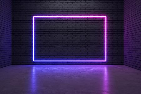 Glühendes Neonplakat auf Backsteinmauerhintergrund. Stil- und Designkonzept. Mock-up, 3D-Rendering Standard-Bild