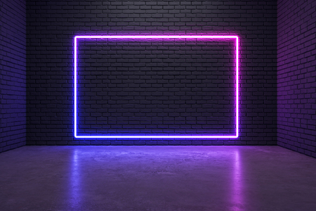 Glowing neon poster on brick wall background. Style and design concept. Mock up, 3D Rendering