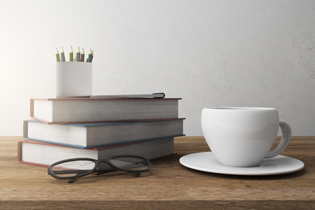 Stack of colorful books and Coffee cup. Education Concept. 3D Rendering Stock Photo
