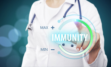 Doctor using digital button hud on blurry background. Healthcare and innovation concept. Double exposure