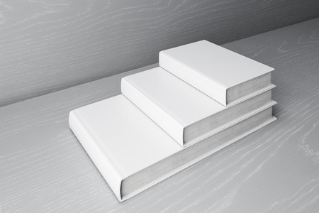 Stack of white books.  Education Concept. 3D Rendering