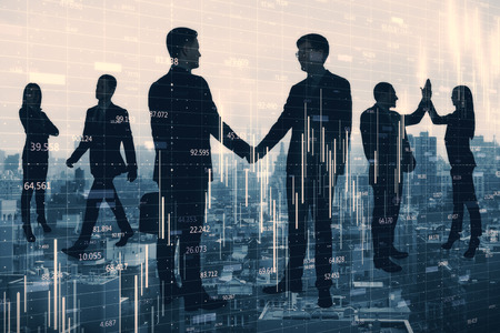 Crowd of businesspeople silhouettes standing on city background with forex chart. Teamwork and finance concept. Double exposure