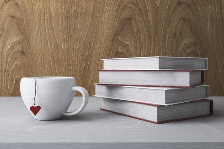 Stapel witte boeken en koffiekopje. Onderwijsconcept. 3D-rendering