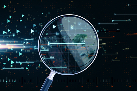 Magnifying glass with forex chart. Forecast and market concept. 3D Rendering Zdjęcie Seryjne