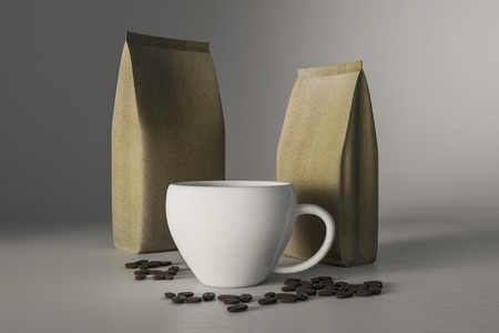 Coffee cup and coffee beans, 3D Rendering
