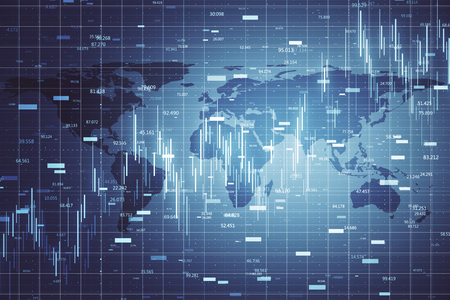 Global business and stats concept. Creative forex chart wallpaper with digital map and grid. 3D Rendering Banco de Imagens