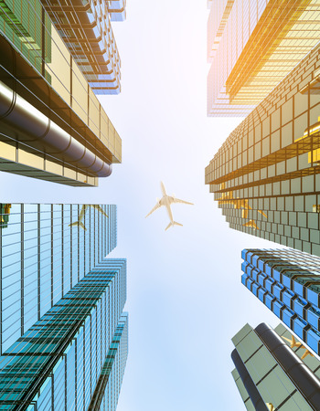 Abstract view of airplane flying between glass skyscrapers. Travel and jet concept. 3D Rendering