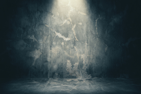 Empty concrete wall texture with spotlight. Mock up, 3D Rendering Stock Photo