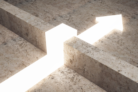 Glowing arrow going over concrete fence. Obstacle and challenge concept. 3D Rendering Stock Photo