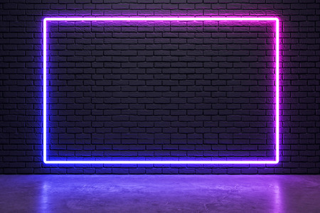 Glowing neon billboard on brick wall background. Style and design concept. Mock up, 3D Rendering