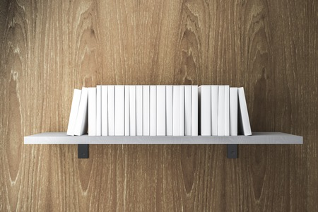 Stack of white books on shelf. Education Concept. 3D Rendering Stock Photo