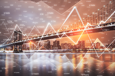 Creative city background with forex chart and numbers. Trade and finance concept. Double exposure