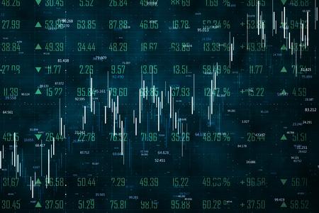 Handel en statistieken concept. Creatief forex grafiekbehang met lijnen. 3D-rendering