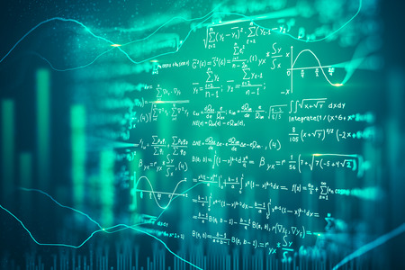 Creative blurry digital mathematical formulas background. Complex algorithm concept. 3D Rendering