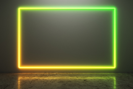 Glowing neon billboard on concrete wall background with reflections.  Style and design concept. Mock up, 3D Rendering 版權商用圖片