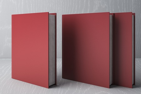 Stack of red books. Education Concept. 3D Rendering