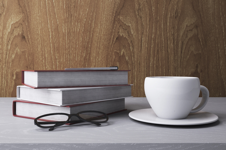 Stack of colorful books and Coffee cup. Education Concept. 3D Rendering