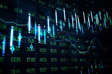 Trade and finance concept. Dark forex chart backdrop with lines. 3D Rendering