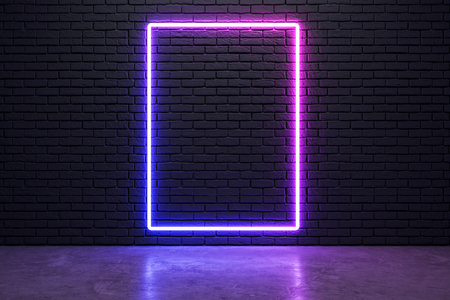Glowing neon banner on brick wall background. Style and design concept. Mock up, 3D Rendering Archivio Fotografico - 120798442