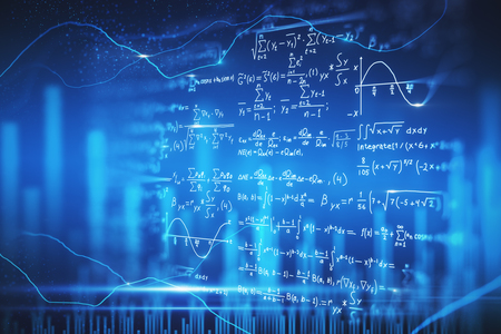 Creative blurry digital mathematical formulas wallpaper. Complex algorithm concept. 3D Rendering