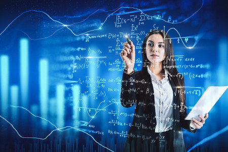 Attractive businesswoman writing mathematical formulas on blurry background. Education and algorithm concept. Double exposure